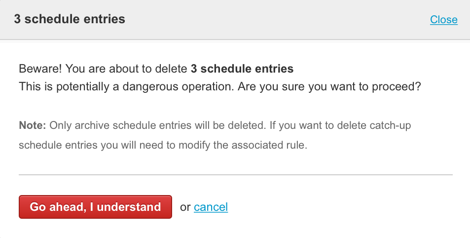Improvements for schedule entry deletion 1