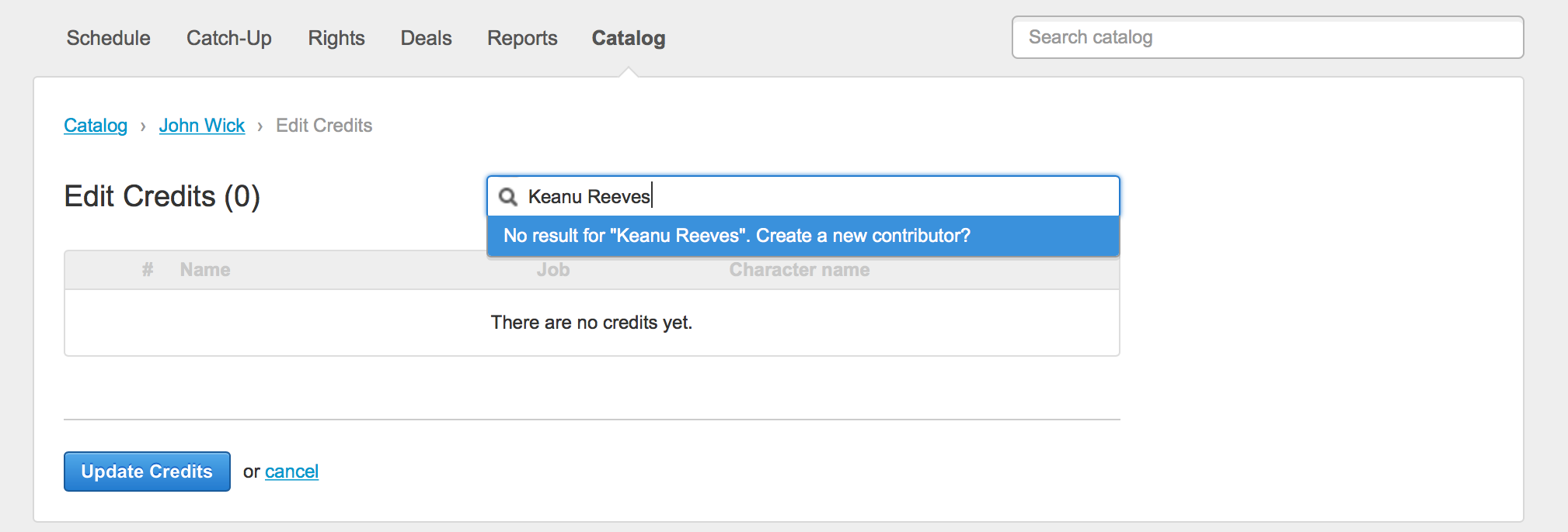 Contributors credits and catalog improvements 3