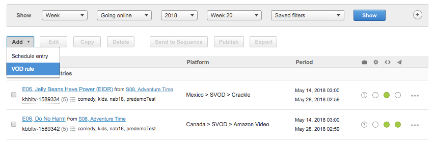 Add VOD Rule from Schedule Page